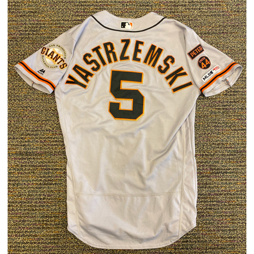 Photo of 2019 Game Used Road Jersey worn by #5 Mike Yastrzemski on 9/7 @ LAD - 1-3, R, 9/18 @ BOS 1-4, RBI, 2 R, BB, Bruce Bochy gets Career Win 2,000 & 9/21 @ ATL - Size 42