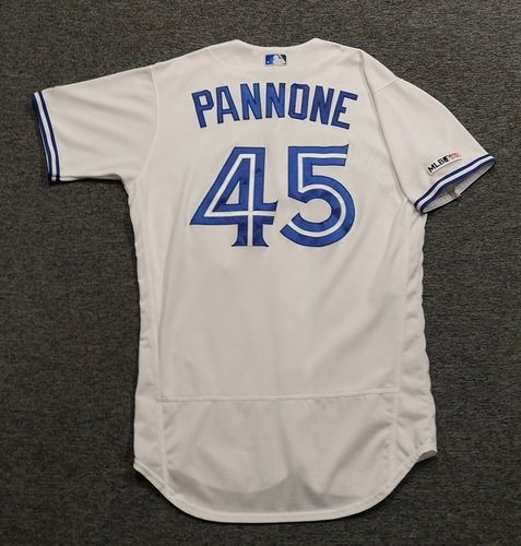 Photo of Authenticated Game Used Jersey - #45 Thomas Pannone (Mar 28, 19: Opening Day. Apr 14, 19: 3 IP, 0 Hits, 0 ER, 4 Ks: Threw 3rd Immaculate Inning in Blue Jays History). Size 44.
