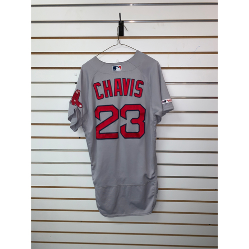 Photo of Michael Chavis Game Used July 6, 2019 Road Jersey - 1 for 4, RBI