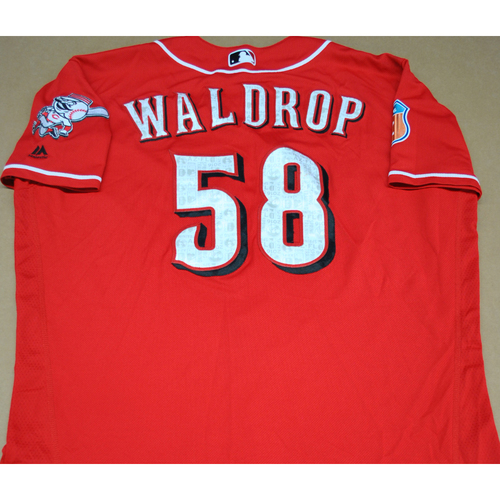 Photo of Game-Used 2016 Spring Training Jersey - Kyle Waldrop - Size 48 - Cincinnati Reds
