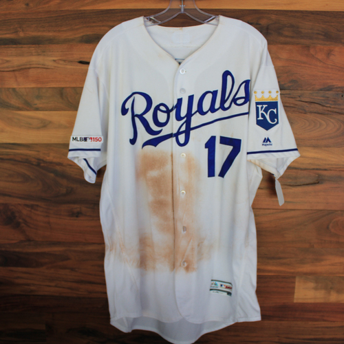 Photo of Game-Used Jersey: Hunter Dozier 14th Career Triple (Size 48 - MIN @ KC - 9/29/19)