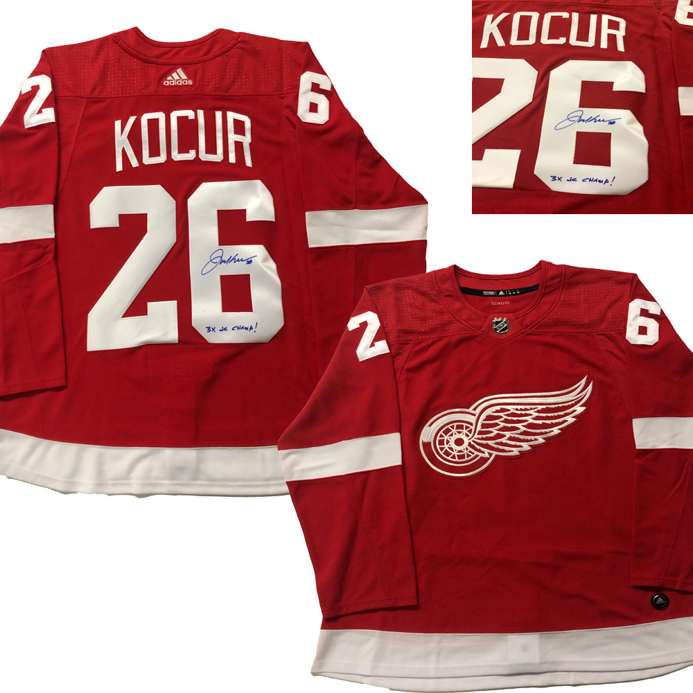 JOE KOCUR Signed Detroit Red Wings Red Adidas PRO Jersey - 3x SC Champs