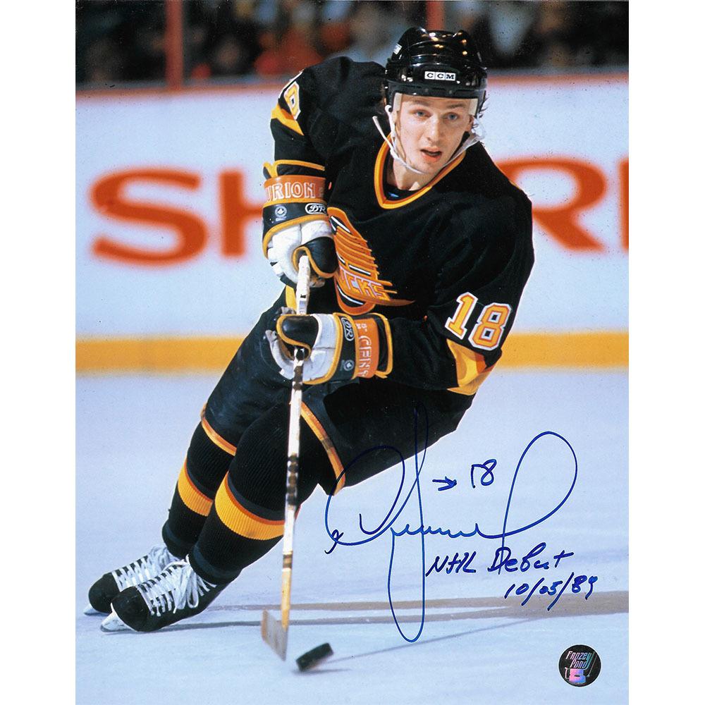 Igor Larionov Autographed Vancouver Canucks 8X10 Photo w/NHL DEBUT 10/05/89