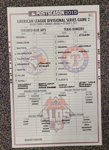 Photo of Authenticated Game Used Postseason Lineup Card: October 9, 2015 vs TEX (ALDS Game 2). 14 Inning Game vs Rangers.