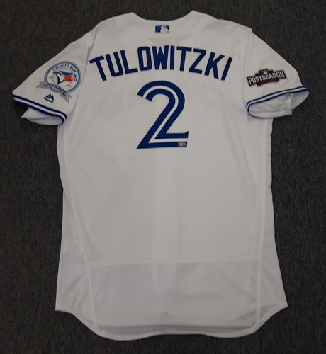 Photo of Authenticated Team Issued 2016 Postseason Jersey - #2 Troy Tulowitzki. Size 46.
