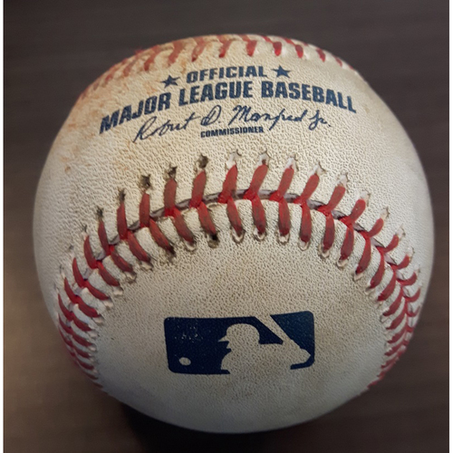 Photo of Authenticated Game Used Baseball - Single by #19 Jose Bautista vs. Carlos Carrasco. Bottom of the 7th inning. (May 9, 2017)