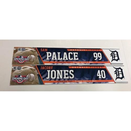 Photo of Game-Used Opening Day Locker Name Plates: JaCoby Jones & Sam Palace