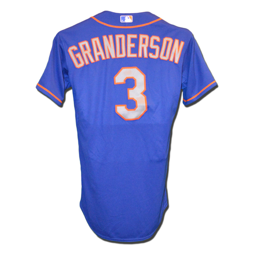 Photo of Curtis Granderson #3 - Team Issued Blue Alt. Road Jersey - 2015 Season