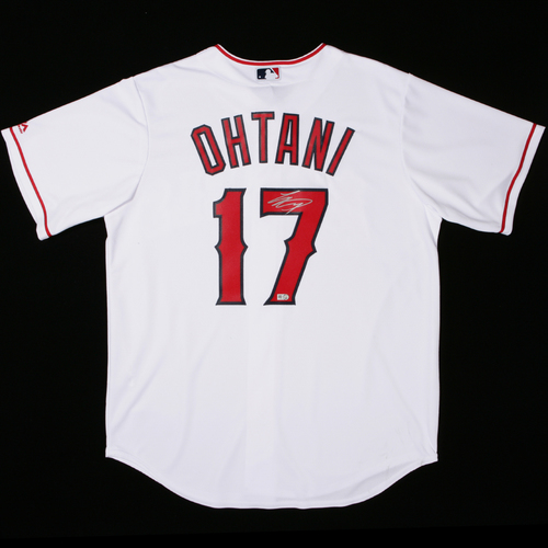 Photo of Shohei Ohtani Autographed in Silver Replica Home Jersey