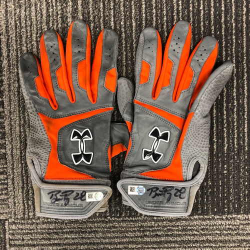 Photo of Autographed Batting Gloves - #28 Buster Posey