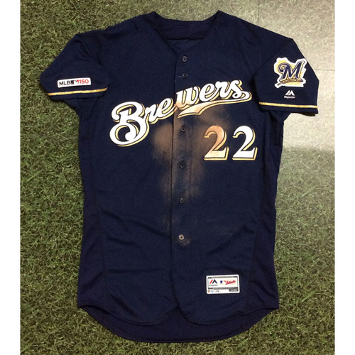 Photo of Christian Yelich 07/16/19 Game-Used Navy Alternate Jersey - 2nd Career Grand Slam Game - Size 44