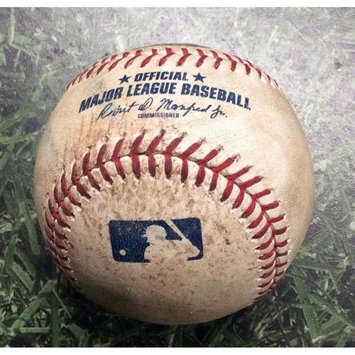 Photo of Game-Used Baseball WSH@MIL 05/07/19 - Stephen Strasburg - Ben Gamel: Strikeout