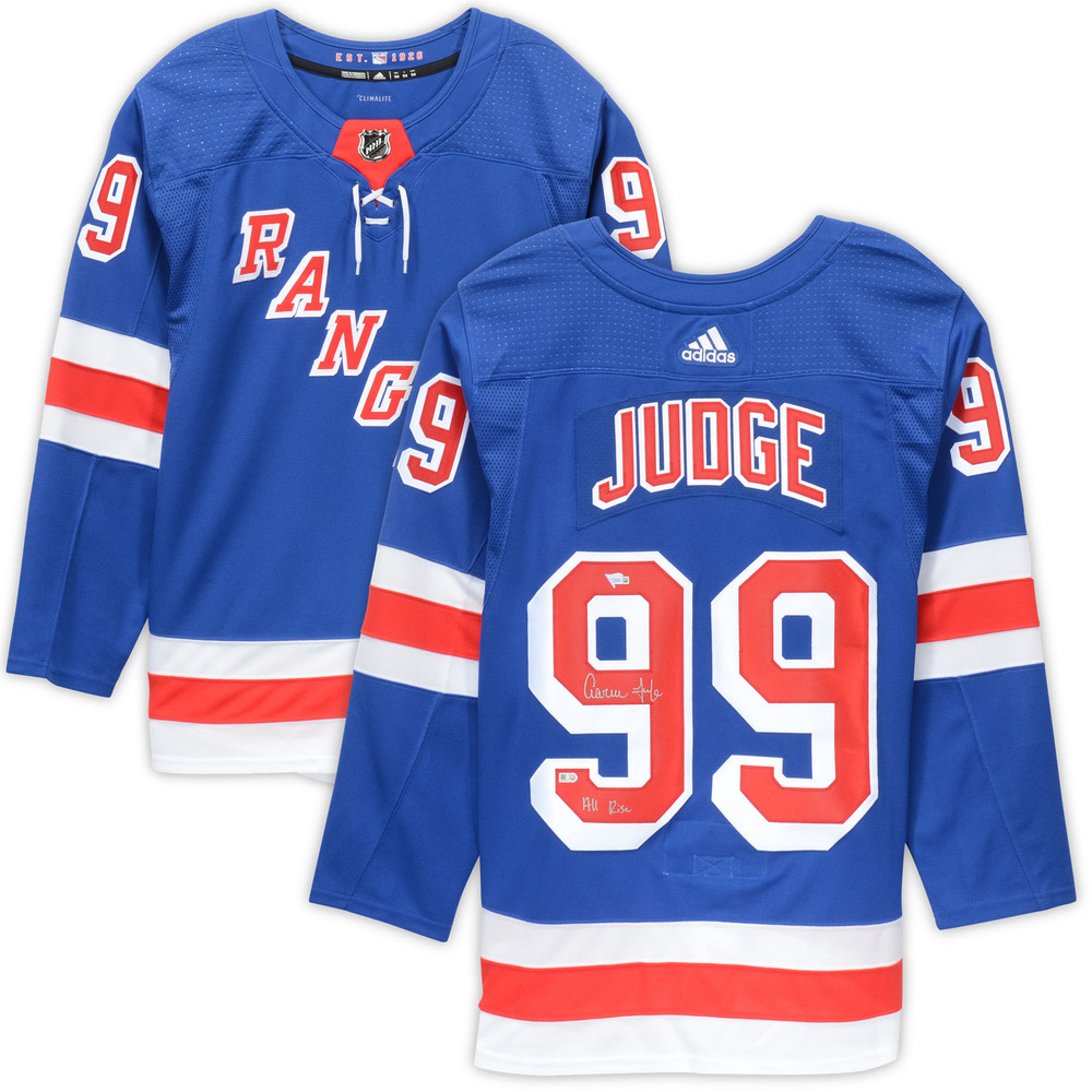 Aaron Judge New York Rangers Autographed New York Rangers Adidas Authentic Jersey with