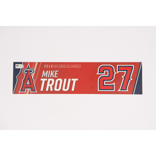 Photo of Mike Trout Team Issued 2019 Locker Tag