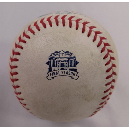 Photo of Game-Used Baseball 9/29/2019 - NYY vs. TEX - Final Game Ever at Globe Life Park - Tyler Wade Foul Off of Jose Leclerc
