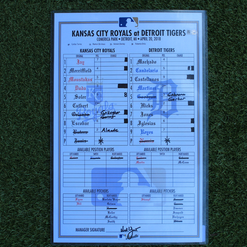 Photo of Game-Used Lineup Card: (KC @ DET - 4/20/18 Game 2)