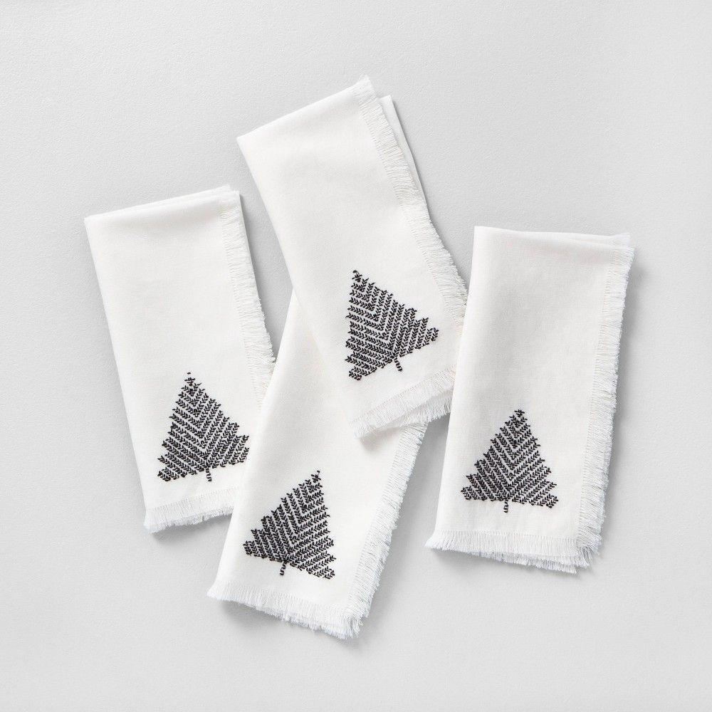 Photo of 4pk Napkin Set Sour Cream with Black Embroidered Tree - Hearth & Hand with Magnolia