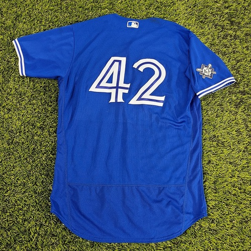 Photo of CHARITY AUCTION: Authenticated Game Used #42 Jersey: Joe Panik (Aug 28, 20: Aug 28: 1-for-4 with 1 Double). Size 46.
