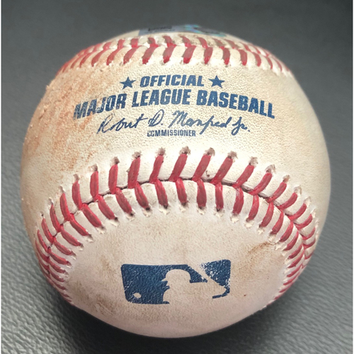 Photo of Game-Used Baseball: Pitcher:  Taijuan Walker Batter: Mookie Betts (Pop Out); Batter: Corey Seager (Foul) - Top 5th (LAD @ SEA - 8/19/2020)