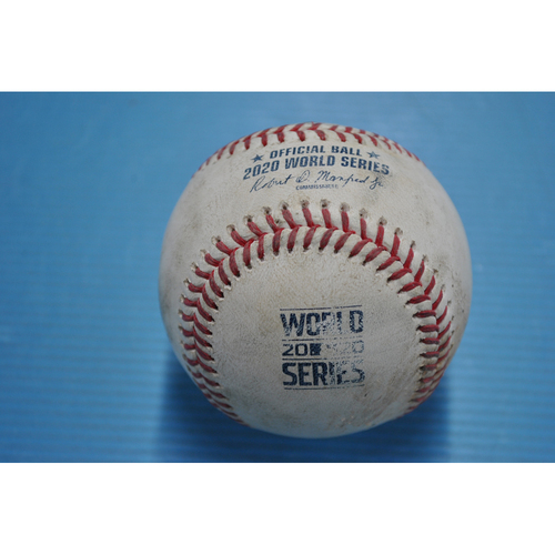 Photo of Game-Used Baseball - 2020 World Series - Tampa Bay Rays vs. Los Angeles Dodgers - Game 2 - Pitcher: Tony Gonsolin, Batters: Austin Meadows (Popout to SS), Brandon Lowe (3 pitches, 2-1 Count) - Top 1