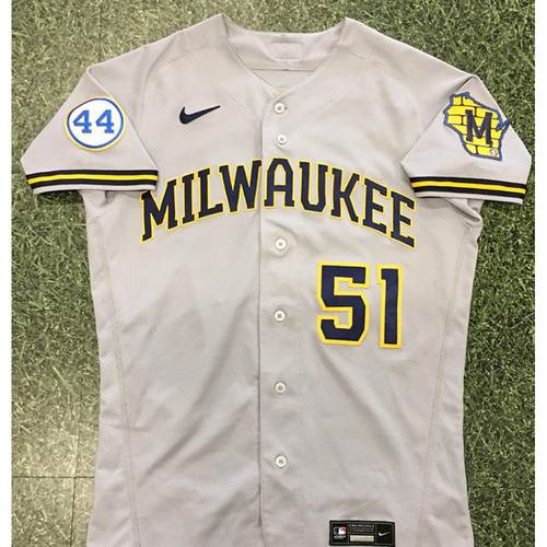 Photo of Freddy Peralta 2021 Game-Used Road Grey Jersey (04/06/21: First Start & Win of 2021; 10/11/21: NLDS Game 3 Starter)