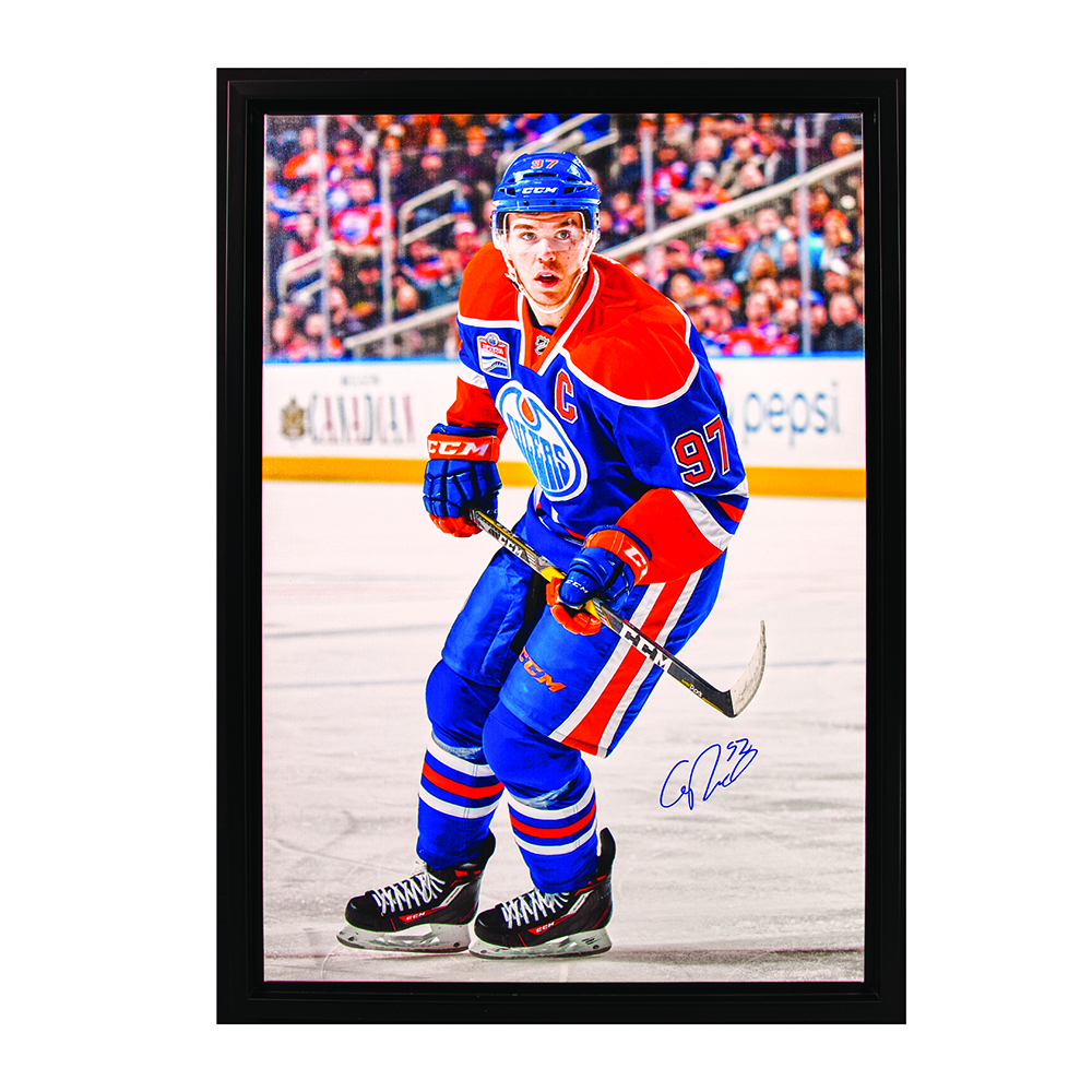 Connor McDavid #97 - Autographed & Framed Edmonton Oilers 20x29 Canvas Photo From 2016-17 Season