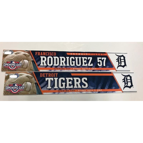 Photo of Game-Used Opening Day Locker Name Plates: Francisco Rodriguez & Detroit Tigers