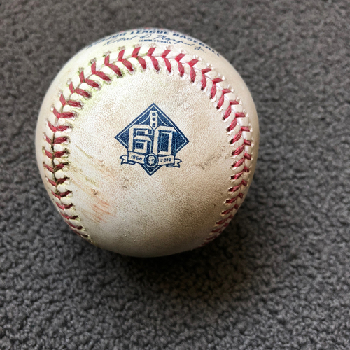 Photo of San Francisco Giants - 2018 Game-Used Baseball - Kelby Tomlinson Single to CF - 5/15/18 vs. Cincinnati Reds