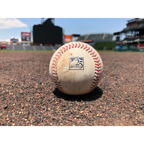 Photo of Colorado Rockies Game-Used Baseball - Pitcher: Jon Gray, Batter: Joey Votto - Double (8) to Parra - May 25, 2018