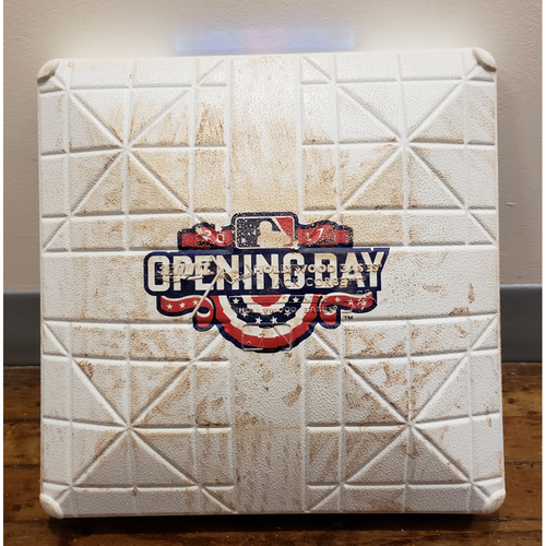 Photo of Game-Used Opening Day Base: Milwaukee Brewers at Toronto Blue Jays - 3rd Base Used in Innings 7-9 - 4/11/17