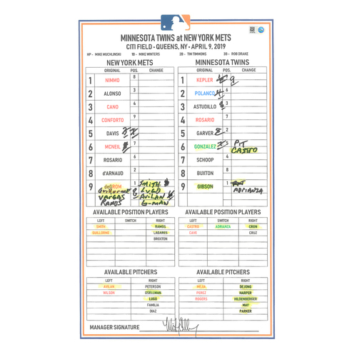 Photo of Game Used Lineup Card - deGrom Start; Alonso 2-5, 2 HR's, and 3 RBI's; Conforto & Nimmo HR's - Mets vs. Twins - 4/9/19