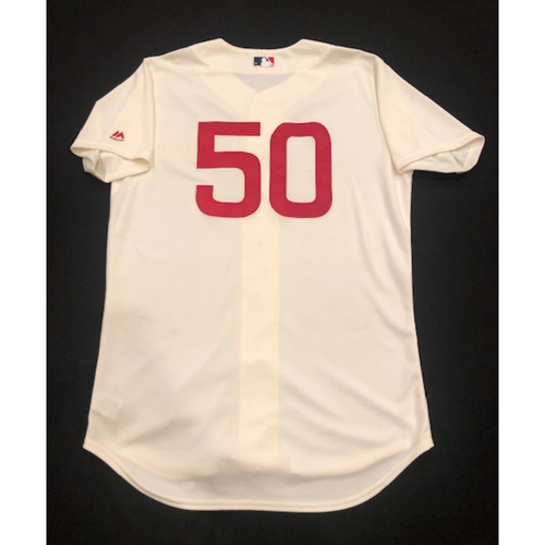 Photo of Amir Garrett -- Game-Used 1936 Throwback Jersey (Relief Pitcher: 0.2 IP, 0 R) -- Cubs vs. Reds on June 30, 2019 -- Jersey Size 46