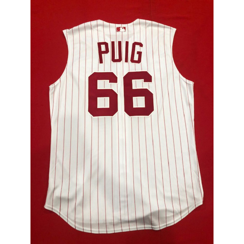 Photo of Yasiel Puig -- Team-Issued 1995 Throwback Jersey -- D-backs vs. Reds on Sept. 8, 2019 -- Jersey Size 48