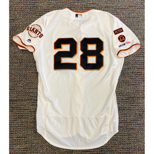 Photo of 2019 Game Used Home Cream Jersey worn by #28 Buster Posey on 9/28 vs. LAD - 1-4 & 9/29 vs. LAD - 1-2, Bruce Bochy's Last Game - Size 46