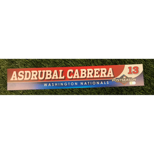 Photo of Game-Used Asdrubal Cabrera 2019 Postseason Locker Tag