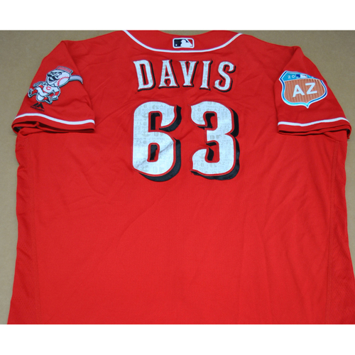 Photo of Game-Used 2016 Spring Training Jersey - Rookie Davis - Size 50 - Cincinnati Reds