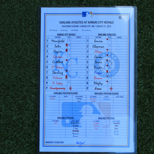 Photo of Game-Used Lineup Card: (OAK @ KC - 8/27/19)