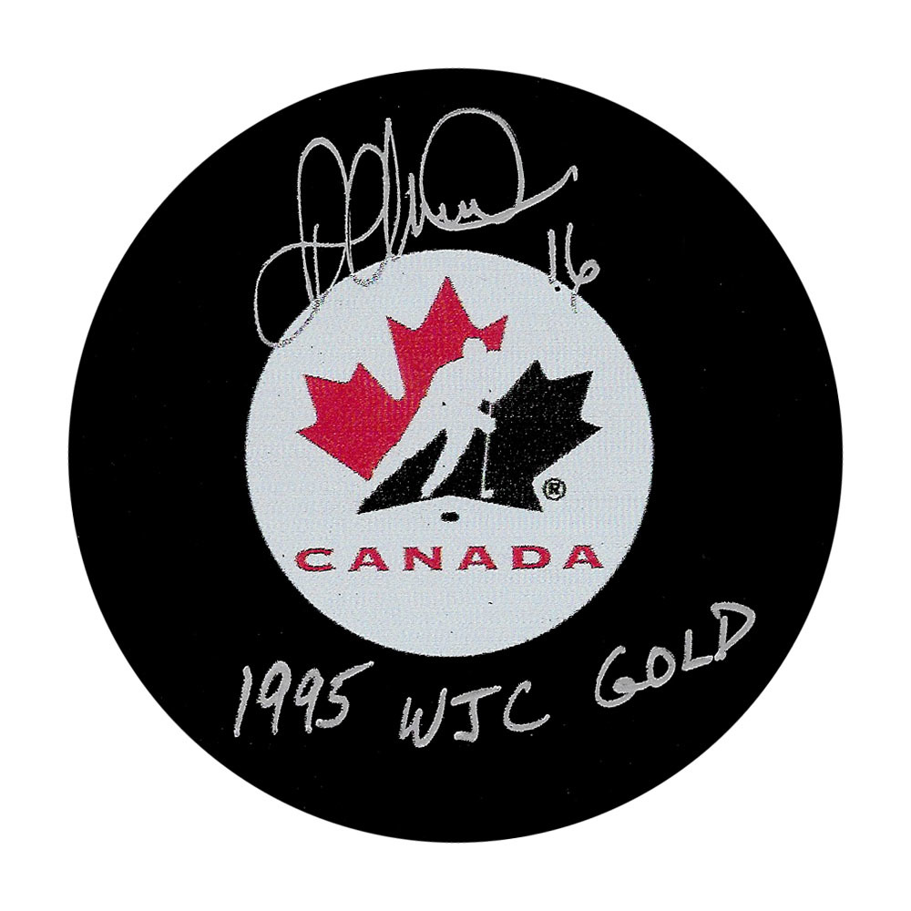 Darcy Tucker Autographed Team Canada Puck w/1995 WJC GOLD