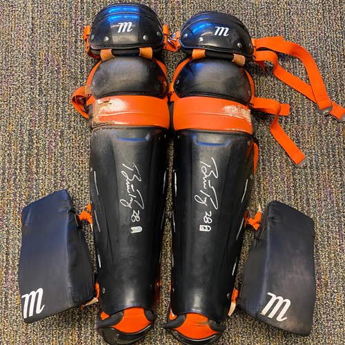 Photo of 2021 Autographed Team Issued Shin Guards signed by #28 Buster Posey