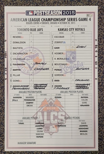 Photo of Authenticated Game Used Postseason Lineup Card: October 20, 2015 vs KCR (ALCS Game 4). Cliff Pennington became the first full-time position player in history to pitch in a postseason game