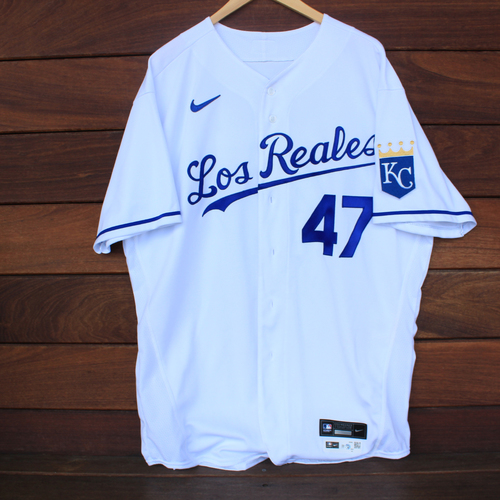 Photo of Game-Used Los Reales Jersey: John Mabry #47 (SEA@KC 9/17/21) - Size 50