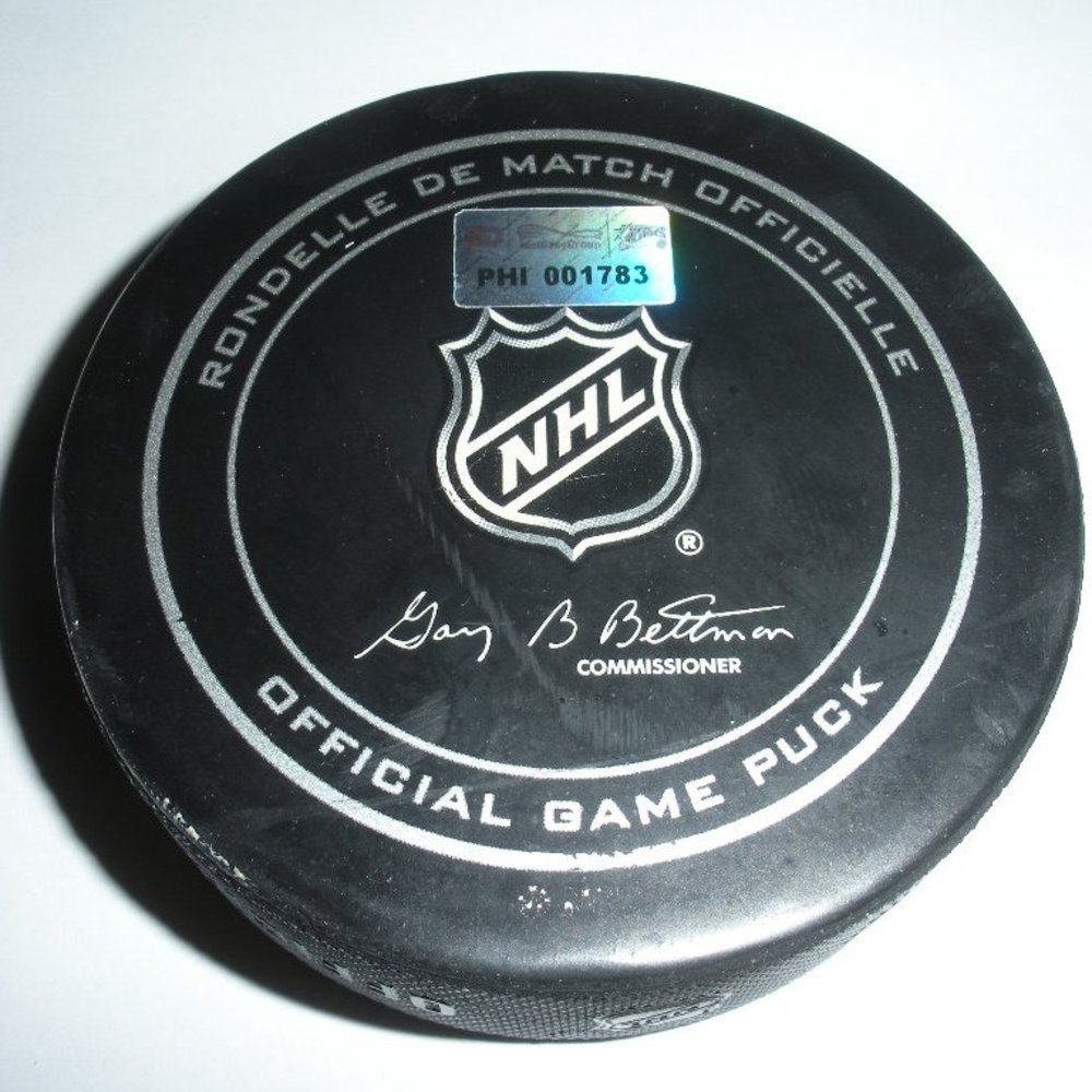 James Neal - Pittsburgh Penguins - Goal Puck - March 7, 2013 (Flyers Logo)