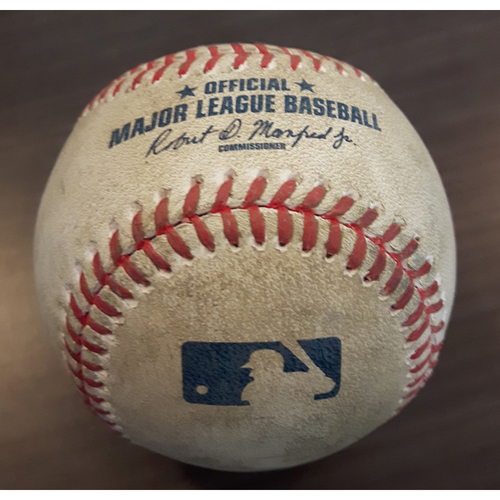 Photo of Authenticated Game Used Baseball - Single by #14 Justin Smoak vs. Tony Zych. Bottom of the 6th inning. (May 13, 2017)