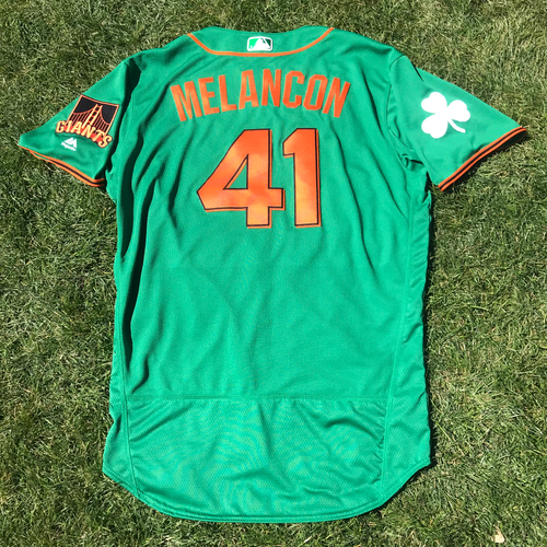 Photo of San Francisco Giants - 2018 St. Patrick's Day - Game-Used Jersey - Mark Melancon