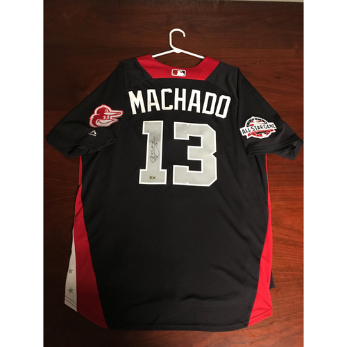Photo of Manny Machado 2018 Major League Baseball Workout Day Autographed Jersey