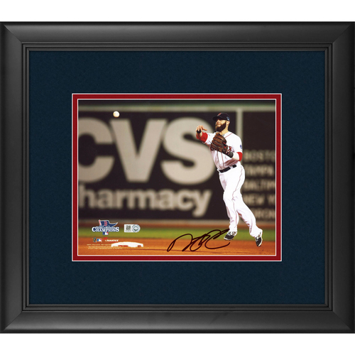 "Photo of Dustin Pedroia Boston Red Sox 2013 World Series Champs Framed Autographed 8"" x 10"" Photo"