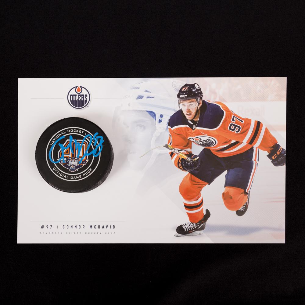 Connor McDavid #97 - Autographed 92nd NHL Career Regular Season Edmonton Oilers Goal Puck Scored On October 23, 2018 vs. Pittsburgh (Fifth Of Season) - Includes Bonus Oversized Player Card