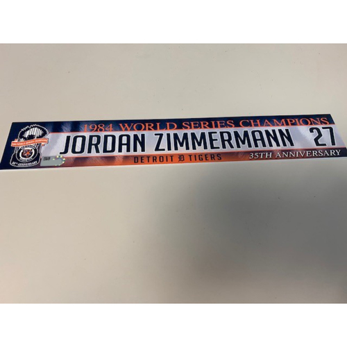 Photo of Game-Used Locker Name Plate: Jordan Zimmermann