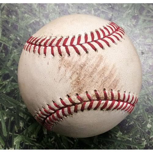 Photo of Game-Used Baseball WSH@MIL 08/31/17 - Zach Davies - Trea Turner: RBI Double
