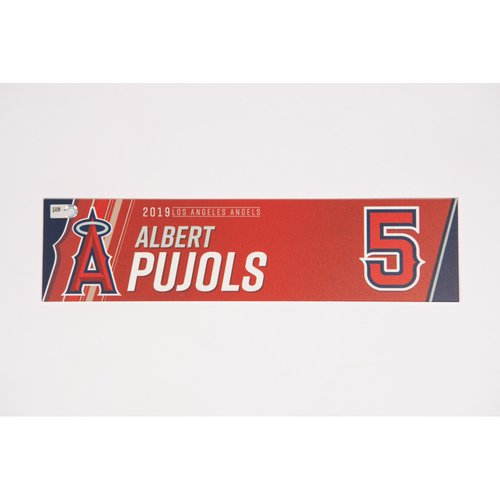 Photo of Albert Pujols Team Issued 2019 Locker Tag